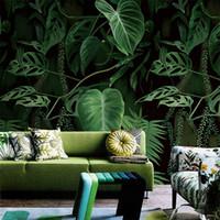 фон на лесной стене оптовых-Retro Tropical Rain Forest Palm Banana Leaves Mural Wallpaper Living Room Restaurant Creative Backdrop Wall Covering Home Decor