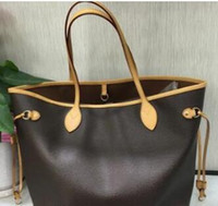 Wholesale AAA Original free ship NEVER FULL cowhide leather handbags color leather shopping bag Never single shoulder bag