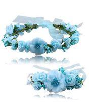 Wholesale hair head wreath flower girl - Wedding Bride's Flower Crown for children head ornaments Wreaths handwork artificial Flowers hair band for girls MMA120