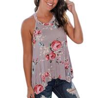 Wholesale Tank Top T Shirt Dresses - 2017 Summer Tshirts Women Sleeveless Floral Printed Tank Top O-Neck T-Shirt Beach Tops Femme Casual Loose Blusas Femininos GV640