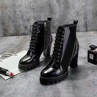botas yürüyüş toptan satış-Ultra-giyilebilir Yıldız Trail Ayak Bileği Çizme Rugan Botas Bayan Tıknaz Topuklu Martin Çizmeler Kış Sıcak Ayakkabı Botas Açık Yürüyüş Botları