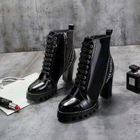 botas wandern großhandel-Ultra-tragbare Star Trail Ankle Boot Lackleder Botas Damen Chunky Heels Martin Stiefel Winter Warme Schuhe Botas Outdoor Wanderschuhe