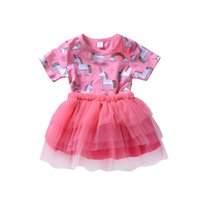Wholesale boutique wedding gowns - Cute Baby Girls Unicorn Princess Tutu Dresses Tulle Girl Boutique Clothing Toddler Clothes Party Wedding Stars Girl Dress Kid Clothes