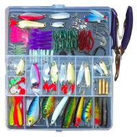 ingrosso kit esche-73/101 / 132pcs richiami di pesca Set misto ciprinidi Popper pesce Lure Box cucchiaio del filatore Cebo Grip Hook Isca esche artificiali Kit Pesca