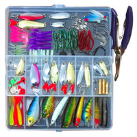 ingrosso scatole per la pesca-73/101 / 132pcs Set di esche da pesca misto Minnow Popper Fish Lure Box Spinner Cucchiaino Cebo Grip Hook Isca Esca Artificiale Kit Pesca