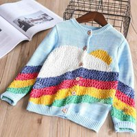 Wholesale Woolen Sweaters - Everweekend Girls Rainbow Knitted Sweater Cardigan Jackets Candy Color Cute Baby Children Spring Autumn Fashion Outwears