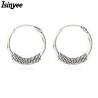 серебряные серьги из тибетского серебра оптовых-whole saleISINYEE Vintage Small Hoop Earrings For Women Punk Metal Round Earring Antique Brincos Tibetan Silver Ethnic  Jewelry