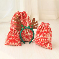 Wholesale cotton wrapping paper resale online - Merry Christmas Decoration Storage Cloth Bag Cotton Pleasantly Surprised Gift Package Coin Key Pouch Candy Bags Party Supplies ym3 bb