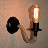 applique murale achat en gros de-Rétro Lampe Industrielle Vintage Corde De Chanvre LED Mur Lumière Loft Monté Applique Éclairage Intérieur Escaliers Salon Lampes