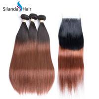 bütünsel saç 1b 33 toptan satış-Silanda Saç Sıcak Satış Ucuz Ombre Renk # T 1B / 33 Düz Brezilyalı İnsan Saç Dokuma 3 Demetleri Ile 4X4 Dantel Kapatma Ücretsiz Kargo