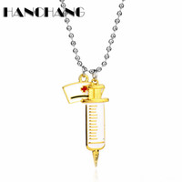 Wholesale doctor accessories online - Creative Jewelry Beads Chain Nurse Hat Syringe Pendants Necklace Accessories Doctor Alloy Necklace Pendant Medical Student Gift