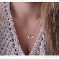 Wholesale channel set necklace - Europe and the United States fashion big temperament clavicle chain explosions personality fashion simple circle necklace necklace