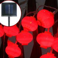 lanternes à cordes rouges achat en gros de-Solaire LED Cordes Rouge Glim Chine traditionnelle Lanterne Décor Maison Jardin en Lumière Parti Décoration
