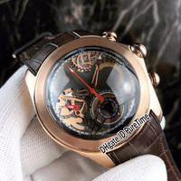 relógio de couro esqueleto mens marrom venda por atacado-Nova bolha de dois tons de ouro rosa esqueleto dial miyota cronógrafo de quartzo mens watch cronômetro pulseira de borracha de couro marrom 6 cores relógios 52b2