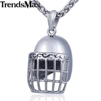 хоккей с ожерельем оптовых-Trendsmax Hockey Helmet Pendant Necklace 316L Stainless Steel Boys Mens Chain Sport Hip Hop Jewelry HP470