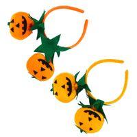 милые оранжевые повязки оптовых-(Оранжевый и Красный Оранжевый) 4 шт. Милая Тыква Оголовье Hairband Обруч для Волос Головной Убор Halloween Party Костюм Аксессуары