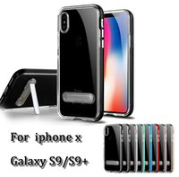 Wholesale Thin Magnetic Case Iphone - Ultra thin clear TPU + PC magnetic bracket single feet stand ultra transparency cellphone back cover shockproof case for iphone x galaxy s9