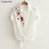 Wholesale Drop Hem - Embroidery Knotted Hem White Shirt 2018 Summer Drop Shoulder Short Sleeve Top Women Casual Loose Turn-down Collar Beach Blouses