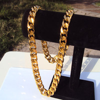 ingrosso gram gold necklace-Cuban Curb Chain 22K 23K 24K THAI BAHT GIALLO FINE SOLID GOLD GP COLLANA 24