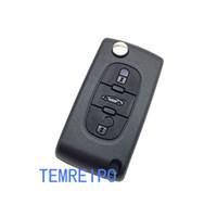 control remoto citroen al por mayor-Reemplazo de la llave para el auto Peugeot 207 307 407 / Citroen 3 botones para voltear la llave del control remoto en blanco fob Peugeot / Citroën la llave de la llave remota