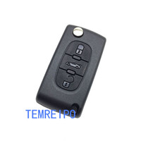 Replacement key shell for Peugeot car 207 307 407  Citroen 3 buttons flip remote key blank fob Peugeot Citroen remote key shell