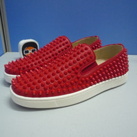 Wholesale Medium Time - Red bottom Slip-on casual shoes women men leather spikes casual shoes shiny sole patent leather fashion sneaker party time dress shoes