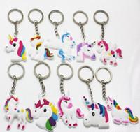 Wholesale Iphone Key Ring - hot sale Unicorn Keychain Keyring Cellphone Charms Handbag Pendant Kids Gift Toys Phone Decoration Accessory Horse Key Ring YSK 003