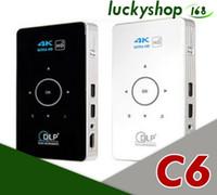 sabit diskler toptan satış-Mini LED DLP Projektör C6 Android 7.1 Amlogic S905X BT4.0 Ev Sineması yakıt HD 1080 P Proyector Destek TF Kart ve sabit disk 5 adet