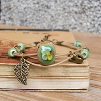 Wholesale vintage chinese bracelet - Ceramic Long Bracelets Handmade Fabric Stones Flowering Green Braided Rope Vintage Chinese Style Leaves Ceramic Beads Fashion Gift Jewelry