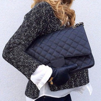 Wholesale maxi single - Fab Price XLarge Classial 33CM Maxi Black Genuine Caviar Leather Quilted Double Flap Fashion Shoulder Chain Bags Handbags G S Hardware
