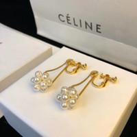 pendientes de uva al por mayor-Forma de uva perla colgante de perlas largas cuelga la cadena famosa marca diseñador joyería de lujo joyas pendientes para mujeres PS6641A