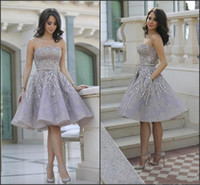 Wholesale white short shiny dress for sale - Group buy Shiny Glitz Sparkling Short Cocktail Dresses Strapless Knee Length Organza with Beads Top Junior Graduation Gowns Fashion Prom Gown
