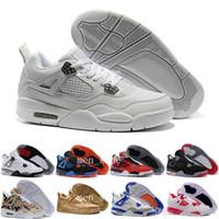 gato zapatos al aire libre al por mayor-[Con la caja] Black Cats Barato 4s Hombres zapatos de baloncesto zapatos deportivos al aire libre zapatillas de deporte de alta calidad para mujer 4 negro rojo blanco