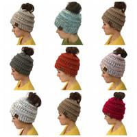 Wholesale crochet beanies for girls - Trendy CC Warm Winter Hat For Women Ponytail Beanie Stretch Cable Knit Bun Hats Soft Ski Cap CC Crochet Knit Cap KKA5593