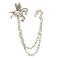 regalos caballo de bronce al por mayor-Comercio al por mayor 12 Unids Retro Bronce Cadena Borla Rhinestone Wing Horse Brooch Crystal Animal Pin Broches Para Regalo Joyería Unisex