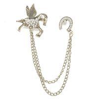 ingrosso regali bronzo cavallo-Commercio all'ingrosso 12 pz retrò bronzo catena nappa strass ala cavallo spilla di cristallo animale pin spille per regalo gioielli unisex