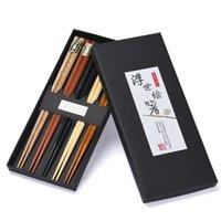 herramientas de valor al por mayor-5 pares de palillos de madera naturales reutilizables hechos a mano conjunto valor regalo multicolor antiguo estilo asiático vajilla herramienta de cocina