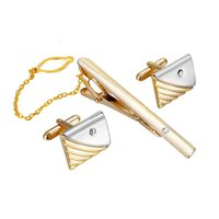 Wholesale mens cufflinks gold - Luxury Tie Clip Cufflinks For Mens Set Curve Stripes Cufflinks High Quality Tie Pin Cuff Links Set Tie Bar Men Jewelry Gifts