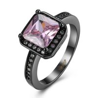 Wholesale bride ring finger resale online - High Quality Fashion Square Pink Crystal Black Gold Gun Plated CZ Finger Ring for Women Bride Engagement Party Anel Jewelry