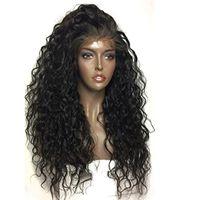 peruca gravata venda por atacado-Frente de Renda sintética Perucas Mulheres Negras Solto Encaracolado Curly Resistente Ao Calor Meia Mão Amarrada Peruca Dianteira Do Laço Sintético Com o Cabelo Do Bebê