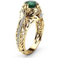 ingrosso diamanti di smeraldo-TYPEDESIGN smeraldo anello zircone, Lady Rose Gold Diamond Engagement Ring ornamenti anello turchese