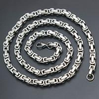 collier inox 4mm achat en gros de-Chaîne de collier de lien de boîte de Byzantine d'acier inoxydable de la chaîne des hommes 4mm 5mm ton argent 316