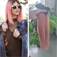Wholesale Two Tone Pink Roses - Ombre 1B Rose Gold Silky Straight Human Hair Bundles Two Tone Ombre Pink Brazilian Virgin Hair Extension