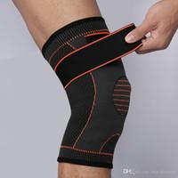 эластичные спортивные повязки колено оптовых-Бесплатная DHL эластичный коленный бандаж колодки сжатия брекеты коленного бандажа Баскетбол Волейбол группа безопасности для спорта пользовательские логотип G450S