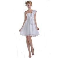 Wholesale maternity wedding dresses online - 2018 Cheap White Chiffon Wedding Dress Short Length Empire Style Sweetheart One Shoulder Maternity Bridal Gown