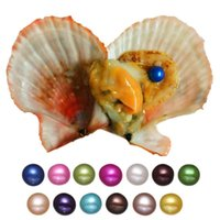 Wholesale Wholesale Oyster Shells - Round Pearl Oyster 6-7mm 20mix Colors 2018 new seawater shell natural Cultured Fresh Oyster Pearl Mussel Farm Supply Free Shipping wholesale