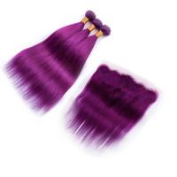cabelo roxo cor de cabelo humano venda por atacado-Reta de seda humano 9A Trama Do Cabelo 3 pcs Com Laço Frontal Pura Cor Roxa Feixes de Cabelo Com Orelha A Orelha Lace Frontal