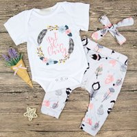 Wholesale baby feather set - Baby INS feather letters Rompers 2018 New kids Short sleeve romper +headbands+trousers 3pcs sets clothes B001