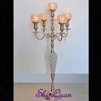 tazones de araña al por mayor-caliente ! candelabros candelabros de araña de cristal de 5 brazos de altura candelabros con cuencos para flores, candelabro de cristal religioso de té de loto
