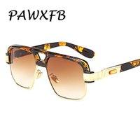 lunettes de soleil de célébrité achat en gros de-PAWXFB Marque Designer Leopard Square Célébrité Hommes Lunettes de Soleil Vintage Mirror Unisexe Lunettes À La Mode lunettes de soleil Shades
